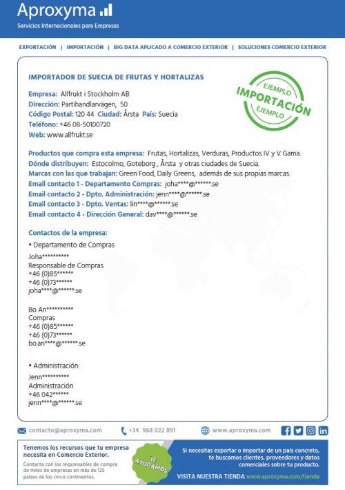 Vista Previa Base de datos de Importadores Productos Gourmet. Exportar productos gourmet