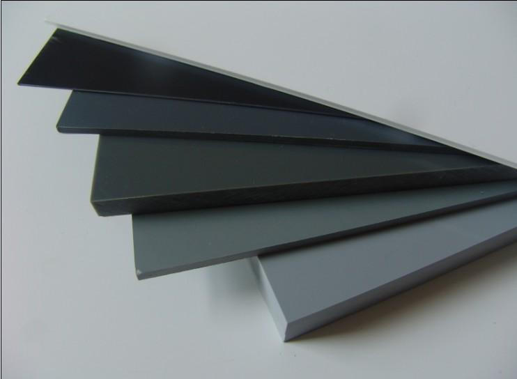 láminas de plástico PVC color gris en diferentes grosores